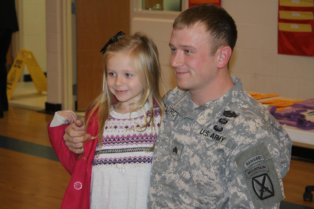 Army Sergeant, daughter reunited at Lindale school after a year apart
