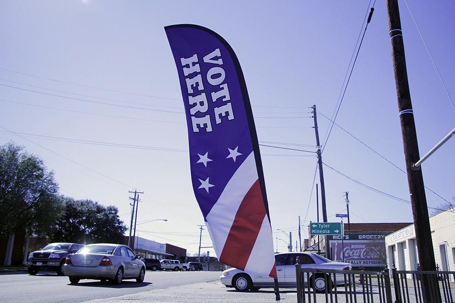 Voting banner outside Lindale Library; Photo by Drew Austin