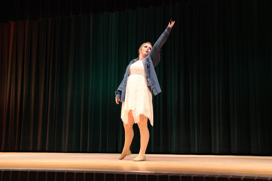 Senior Katelin Free dancing at the talent show. Photo by: Sidney Walker