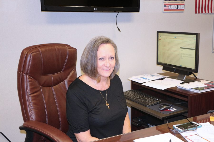 Valerie Payne works in her new office as high school principal for LHS.