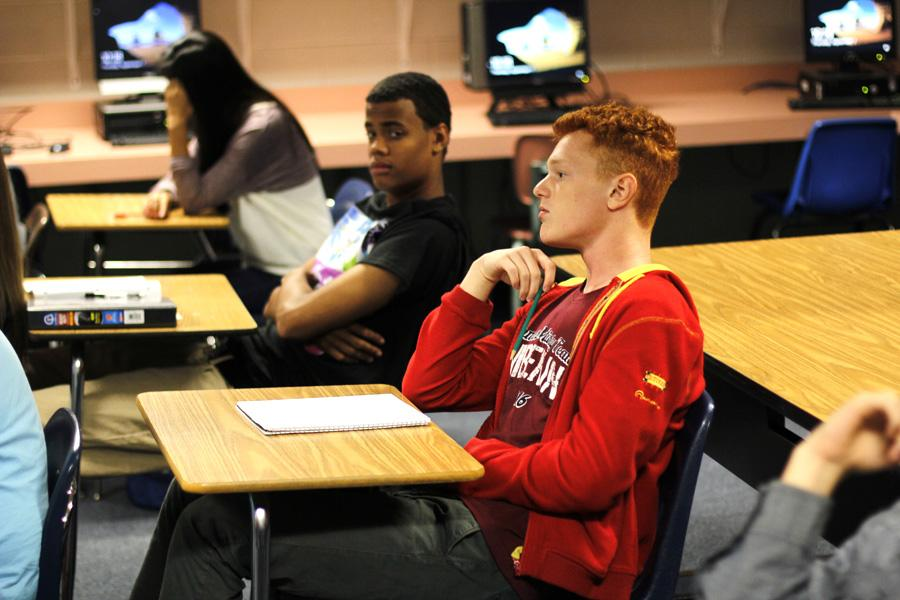 Foreign Exchange student, Vadym Pisoshva, attentively sits in class.