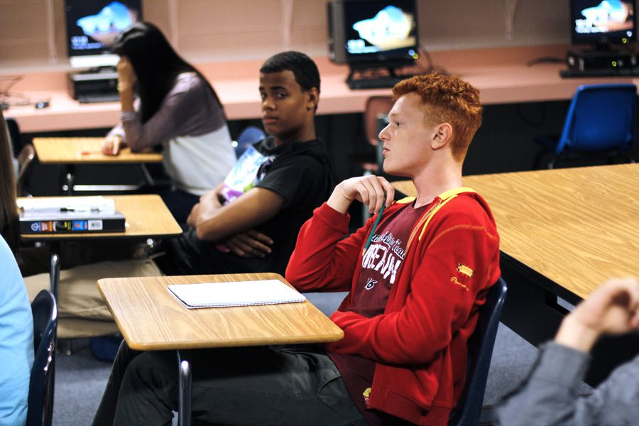 Junior Vadym Pidoshva attentively pays attention in class