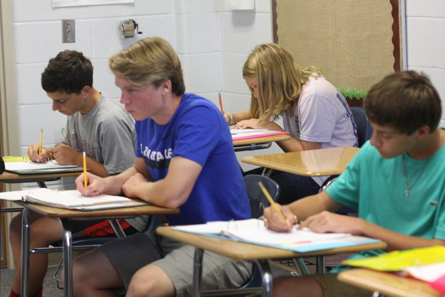 Freshman students already to work in the new school year.