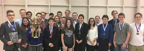 Students pose together for a picture after spending the day competing in UIL academic events.