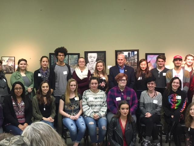 Freshman Laurkyn Worley (above left) pictured with the other competitors in the East Texas Congressional Art Competition, alongside Representative Louie Gohmert. Gohmert honored every competitor and stated that they exemplify the artistic talent within East Texas.