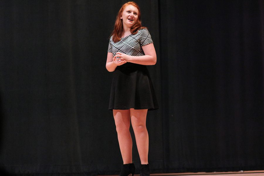 Sophomore Maddie Mezzell performs at the Speech and Debate showcase. The performers practiced for weeks individually for several days before the showcase.
