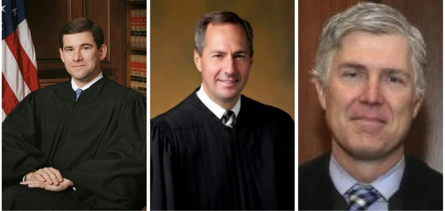 Pictured, from left to right: Judges William Pryor, Thomas Hardiman, and Neil Gorsuch.