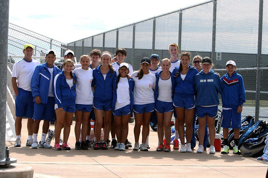 Coach Anders stands with his tennis team after Area matches in Corsicana