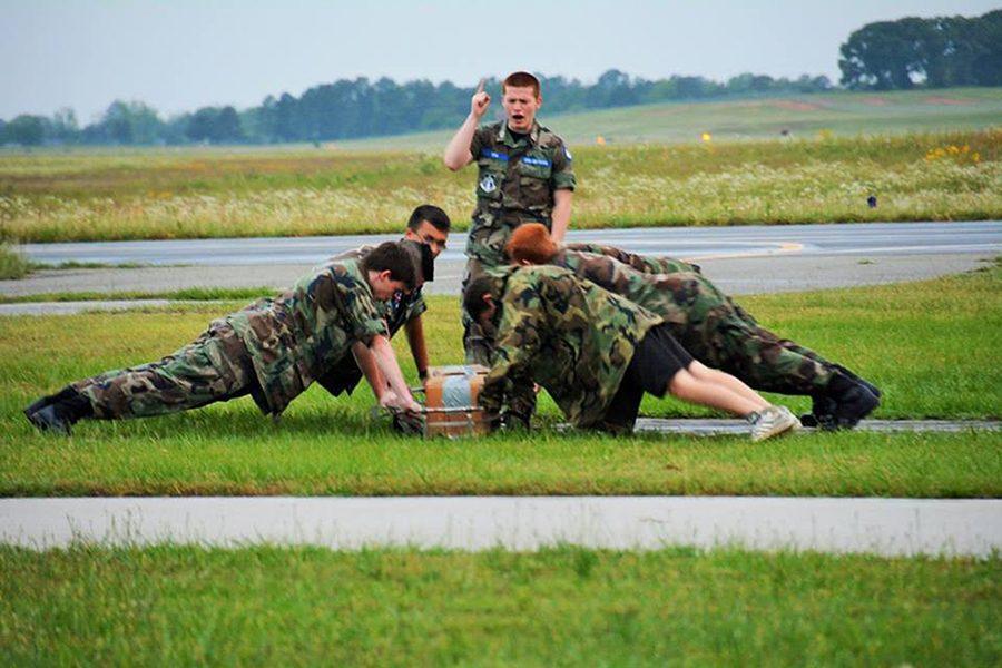 Daniel Sosa commands his fellow cadets.