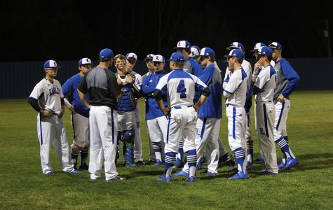 After an impressive performance against Texas High, the Eagle's baseball team gathered around head coach for a post game discussion. Eagles continue to play really well throughout season.
