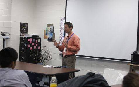 Assistant Principal Ryan Tomlin speaks to Mrs. Weesners class. He told the kids what the care looks like for a child with a hypoplastic left heart.