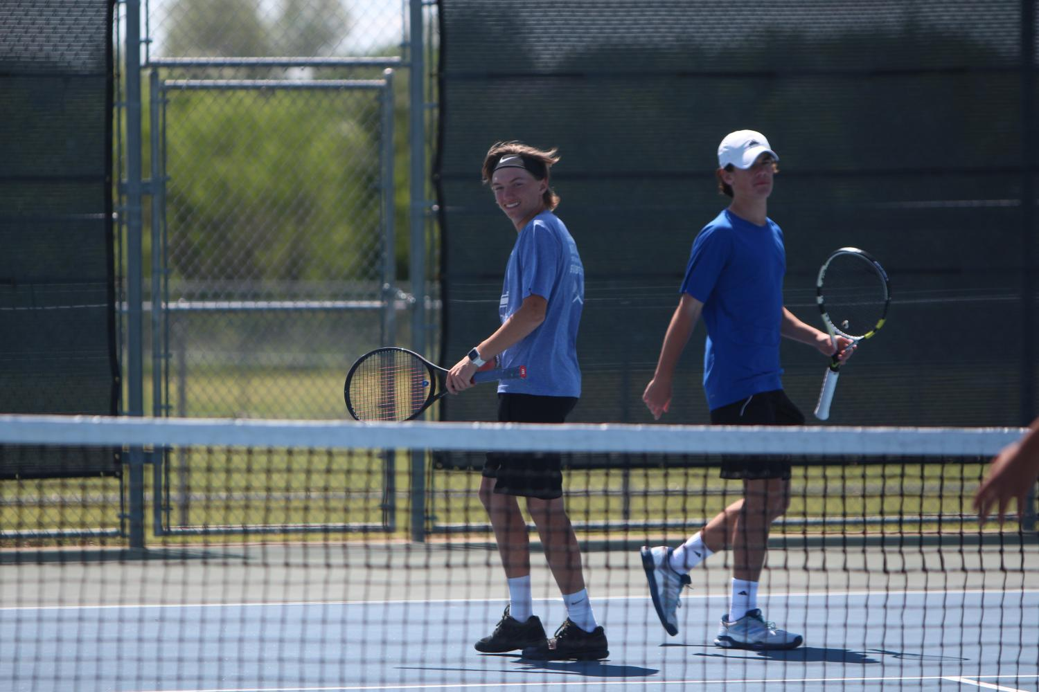 Boys doubles team Kylar Moore and Aaron Gambrell compete at district. The teams advanced to the semifinal round at regionals.