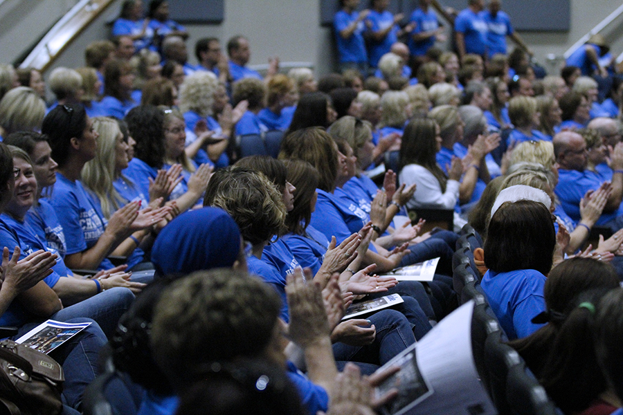 Staff+members+from+LISD+gather+for+an+assembly.+The+faculty+has+been+working+all+month+to+prepare+for+the+year.+