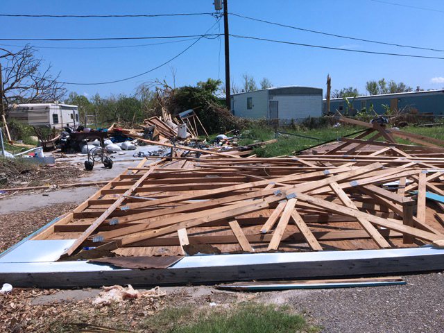 Students view the destruction caused by the hurricane. This is the second time the FFA has traveled to provide natural disaster relief.