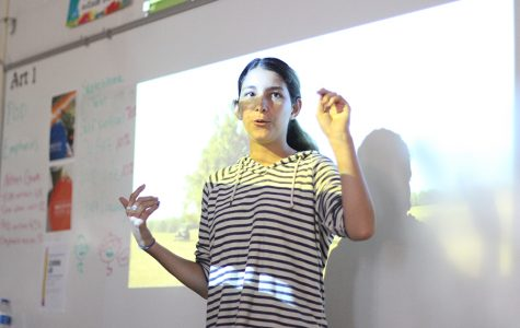 Junior Sophie Taylor leads a discussion in film club. She was elected president of the club at the end of last year.