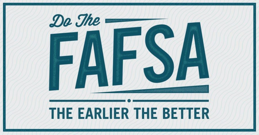 A FAFSA poster motivates students to fill complete their application. Students should complete the application as soon as possible to make college applications easier.