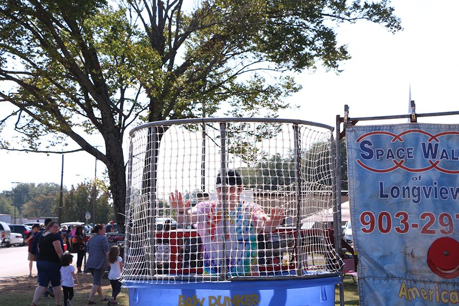 Senior Garret Brown participating in the dunk tank. The dunk tank was set up to raise funds for Project Graduation.