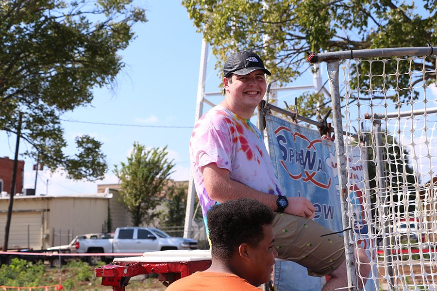 Senior Garret Brown participates in the dunk tank. The dunk tank was set up to raise funds for Project Graduation.