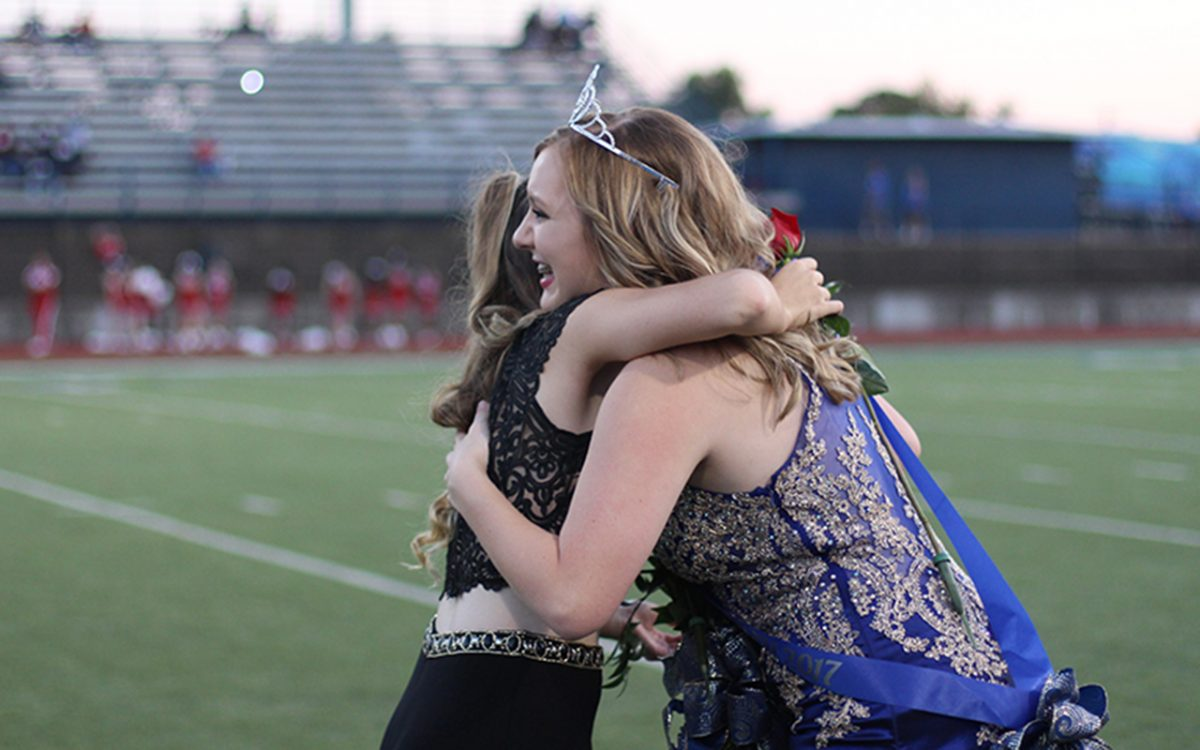 Homecoming+queen+Klaire+Hicks+hugs+fellow+queen+nominee+Adrienne+Parks.+