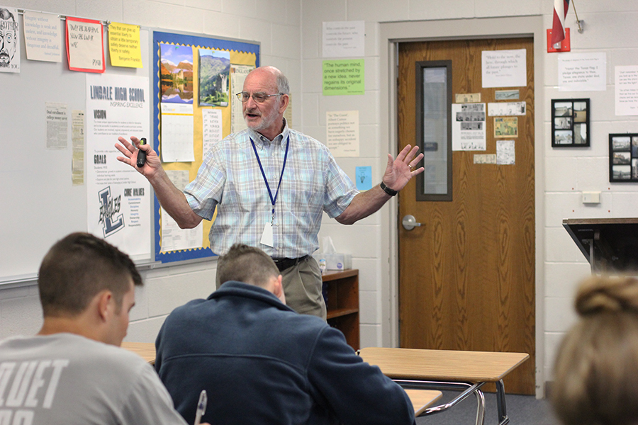 Ken White teaches his students. He spent the entire class period lecturing history.