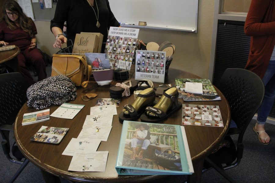 A table displays several of the products available from Sseko.