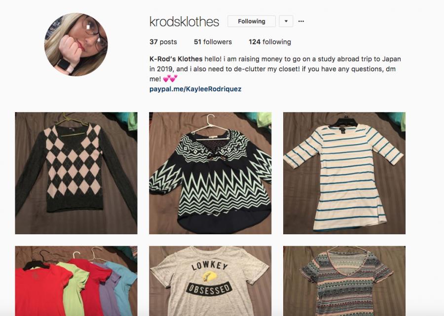 Junior Kaylee Rodriguez sells her clothes on Instagram. Her account is @krodsklothes.