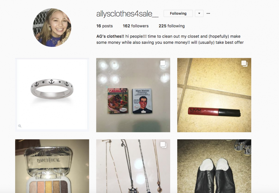 Junior Ally Perkins sells clothes, shoes, makeup and jewelry on Instagram. Her account is @allysclothes4sale_.