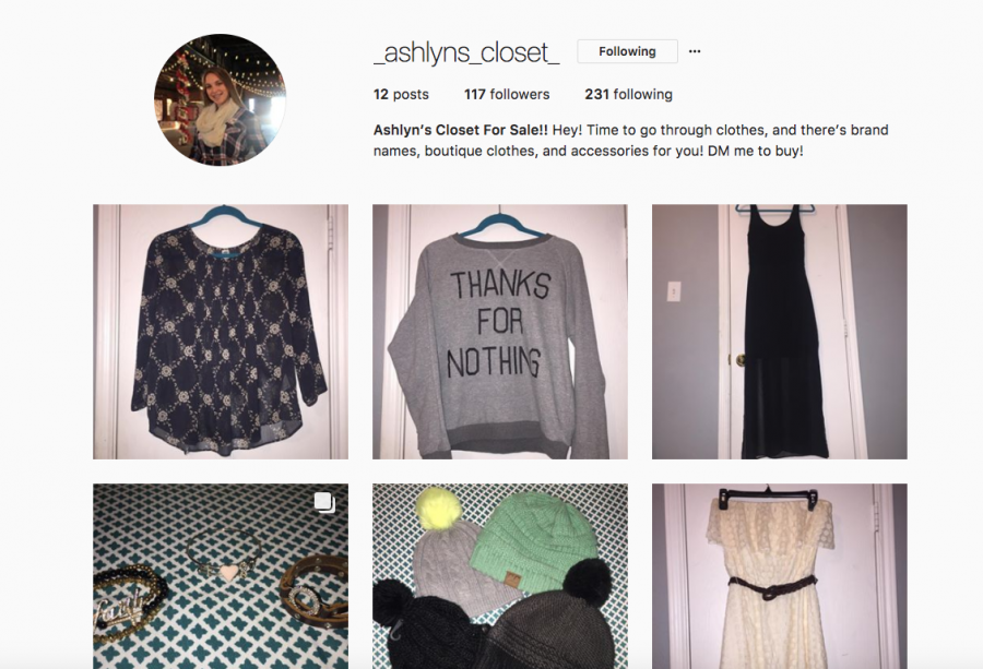 Junior Ashlyn Ellgass sells clothes and jewelry on Instagram. Her account is @_ashlynns_closet_.