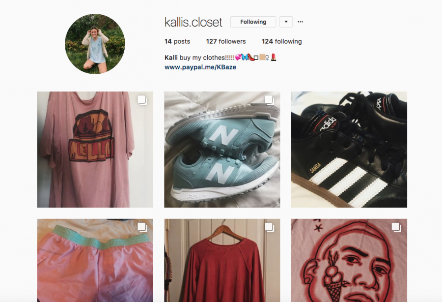 Senior Kalli Baze sells her clothes and shoes on Instagram and endorses them on other platforms. Her account is @kallis.closet.