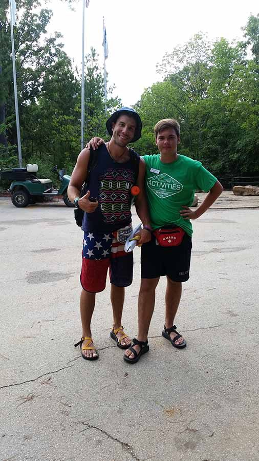 Caleb Smithee and co-worker Josh Gee pose for a picture after work. They lifeguarded together for a year at Sky Ranch.