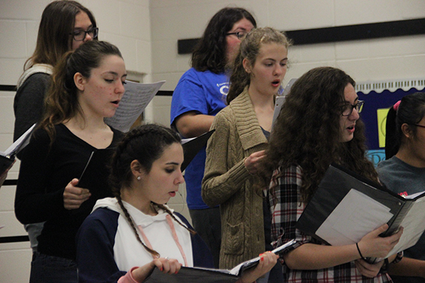 Choral students rehearse for spring concert and UIL competition. This is the choir's second year to compete in UIL.
