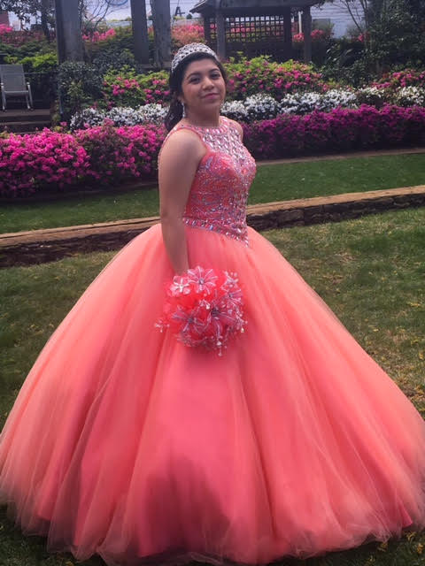 Sophmore Allesandra Hernandez poses for her Quinceañero. The dress is an important part to the celebration for the girls.