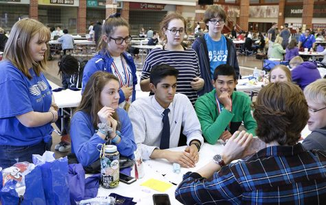 Students play a game while waiting for results. They and their sponsors collectively contributed to Lindale's first place finish at the competition.