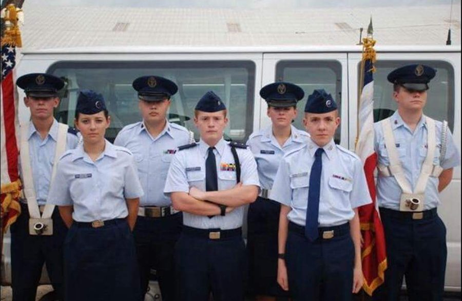 Members of Civil Air Patrol participate as color guard at the Cattle Baron's Ball.