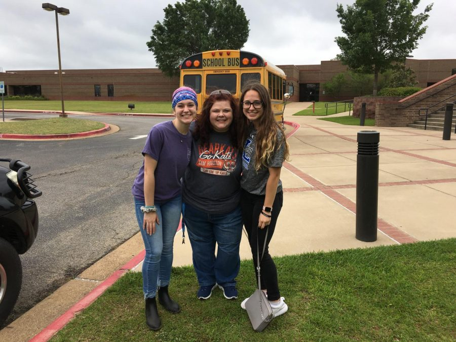 Morrow poses with journalism competitors Adrienne Parks and Tyra Rodden. Parks has gone to State the last three years and has placed in several different journalistic events.