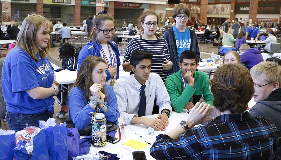Lindale UIL competitors socialize before their events at regionals. Regionals took place at Magnolia High School.