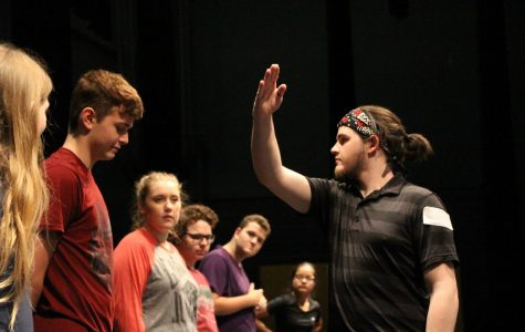Combat Instructor, Michael Murray, demonstrates proper stage combat. This class was in preparation for the upcoming production of Taming of the Shrew.