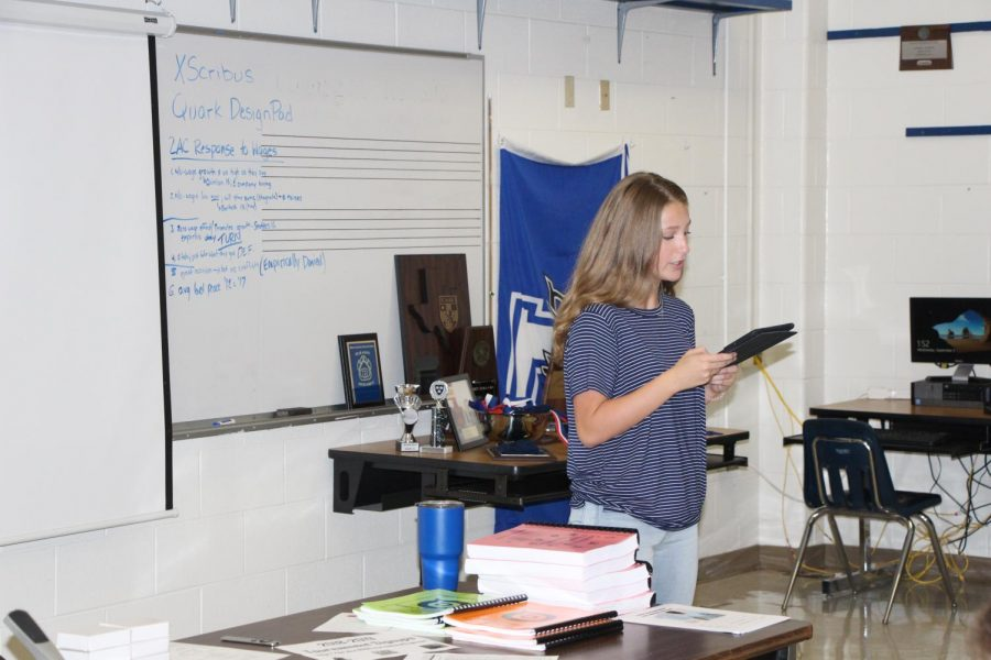 Freshmen, Ryliee Ortiz, speaks during a mini-debate. She, as well as other new debaters, are preparing for their first tournaments.