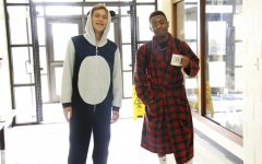 Students from the 2017 PJ day show off how comfy coming to school in PJs can be.