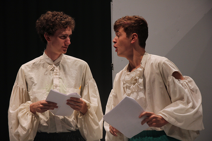 Sam Payne and Alex Gaba rehearse Taming of the Shrew. The two blocked their scene together.