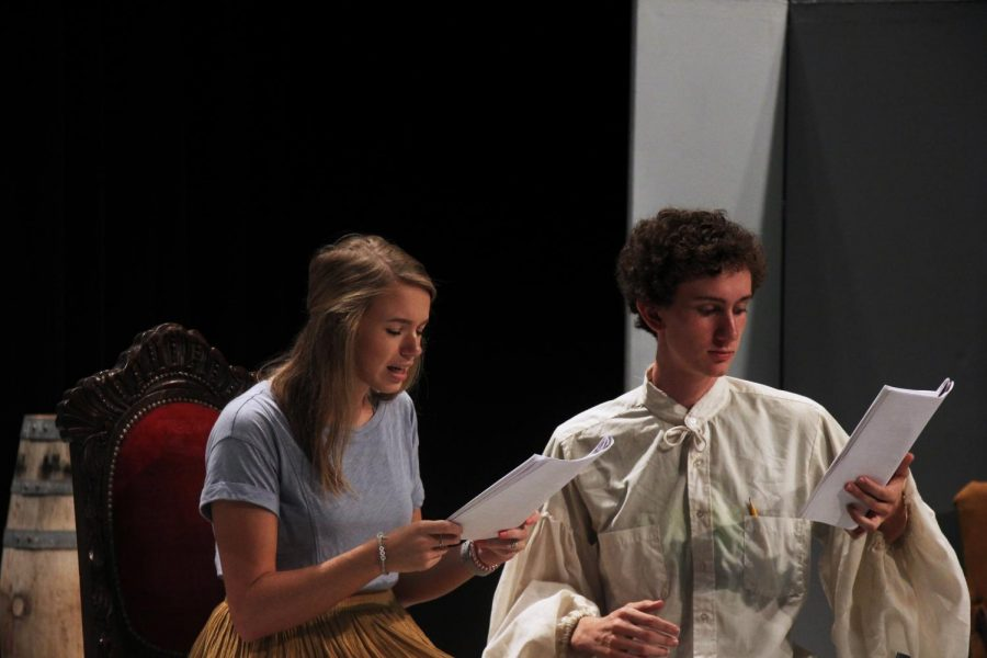 Kayleigh Melvin and Sam Payne recite lines during rehearsals. The pair memorized the scene.