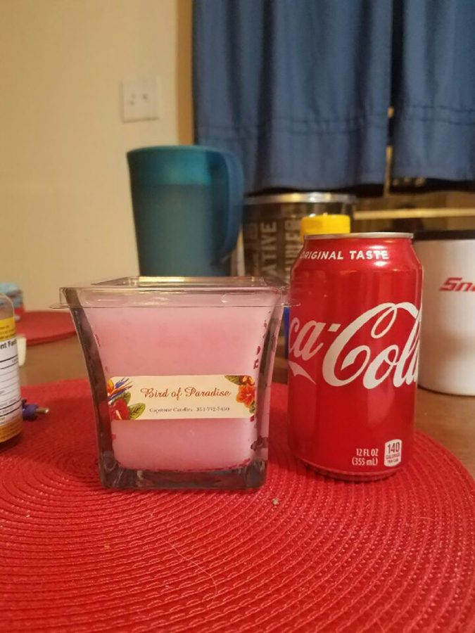 The candles are roughly the size of a coke can. Each candle is $15 dollars which is the cost to make fill a shoebox with necessities.