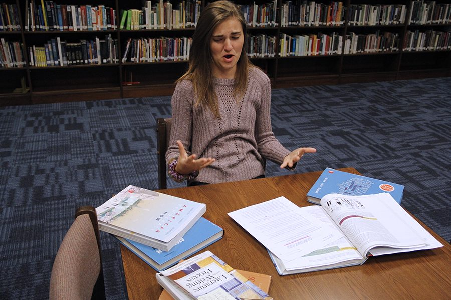 Kaitlyn Barrington studies for many different classes. This describes the stress of a high school student trying to plan for their future.