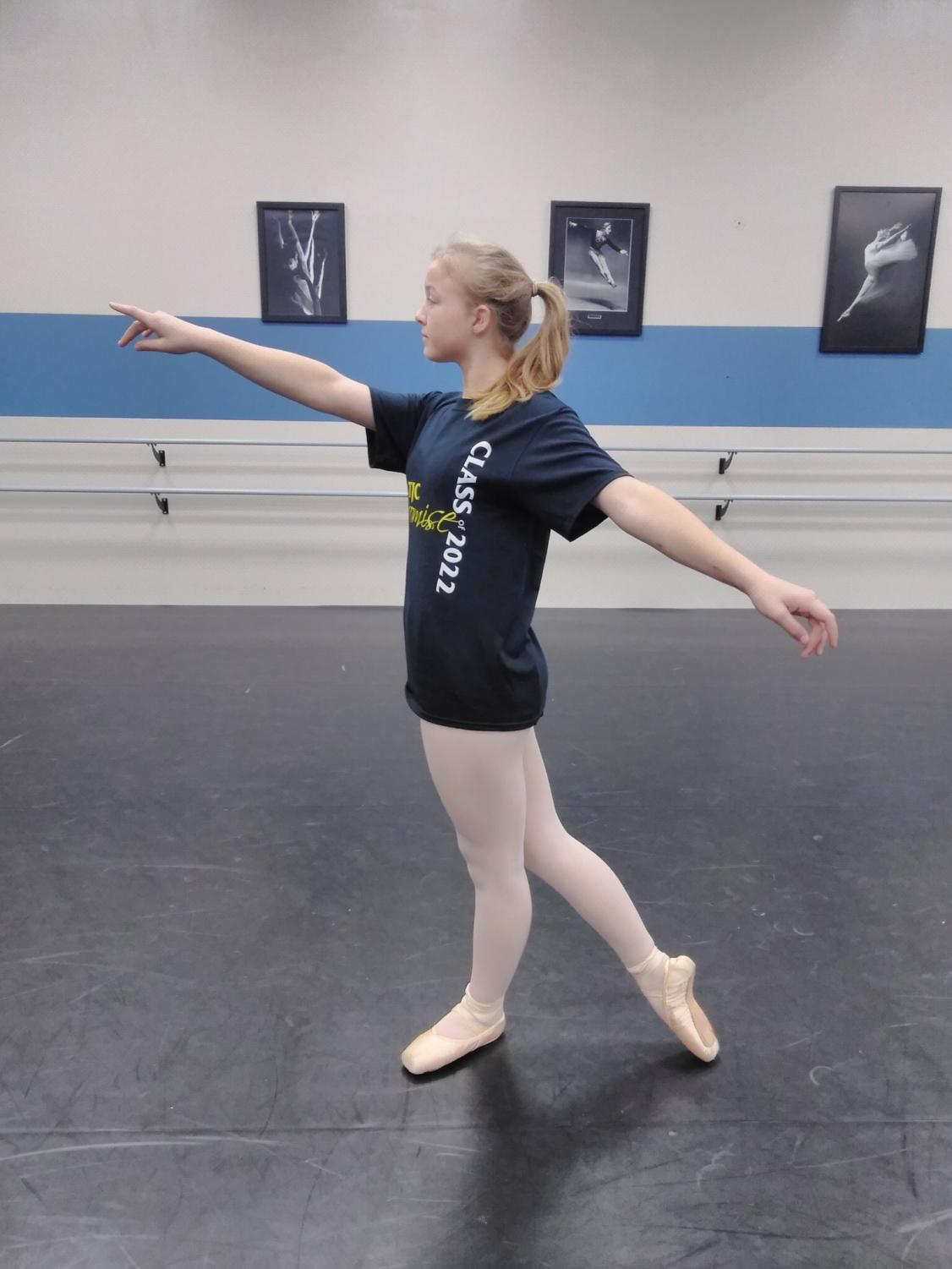 Baylee Elam poses after dance class. This will be the third time she has been in a Nutcracker performance.
