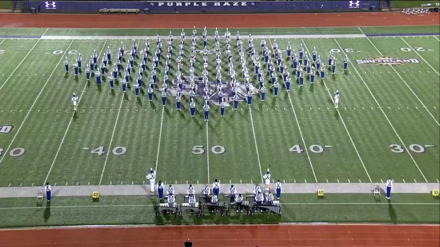 The band performance at UIL in the Stadium at Stephen F. Austin.