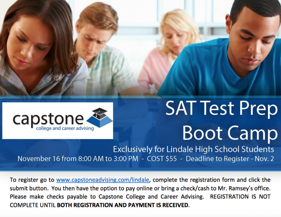 The Captone SAT Boot Camp will be offered on November 16. The deadline to sign up is November 2.