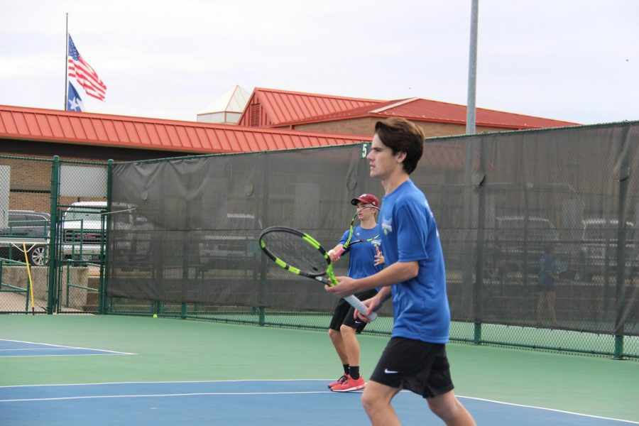 Seniors Aaron Gambrell and Brady Smith play as partners on the varsity tennis team. The team advanced to regionals.