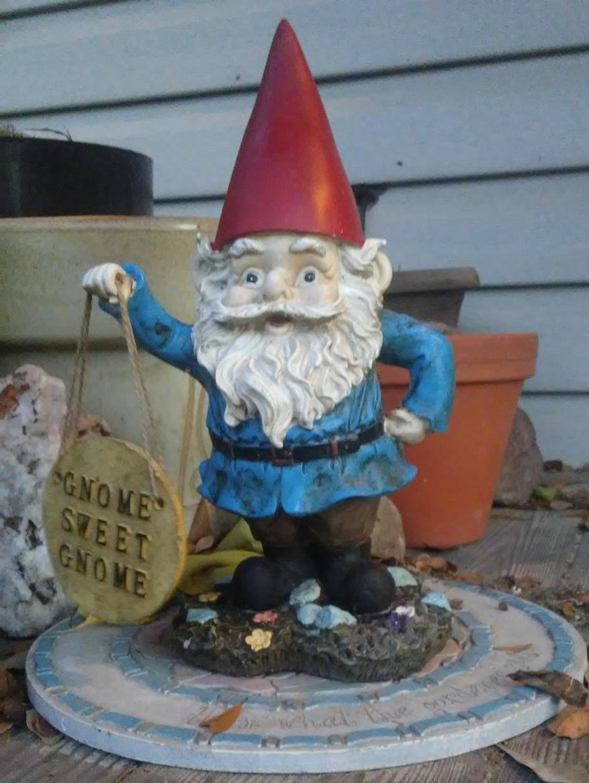 My first gnome, Grimble Crumble. He was named for a Pink Floyd song accurately titled