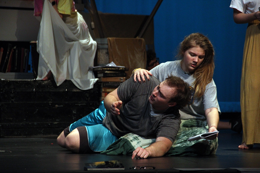 Evan Howell and Alli Somes rehearse. The two worked multiple scenes from the play.