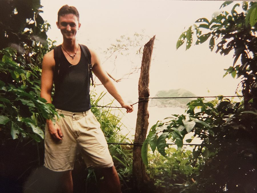 Fleming poses while on vacation. During this time in his life, he worked in a pharmacy.